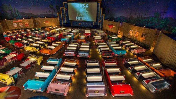 35 Of The World's Most Amazing Restaurants To Eat In Before You Die - Dine While Watching Old Sci-fi Movie Clips Shown On The Big Screen, Sci-fi Dine-in Theater Restaurant, Disney's Hollywood Studios, FL, USA