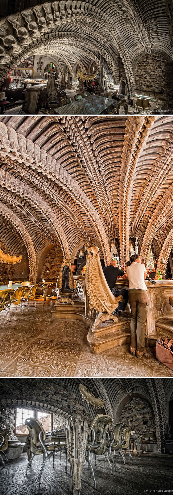35 Of The World's Most Amazing Restaurants To Eat In Before You Die - Enjoy Your Alien Coffee At This Bizarre Bar, Hr Giger Museum Bar, Gruyères, Switzerland